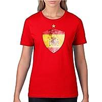 Damen Fußball T-Shirt bedruckbar - WUNSCHNAME & NUMMER - WM / EM / ALLE LÄNDER - 100% Baumwolle - Rundhals Tshirt im Trikot still in div. Farben & Größen