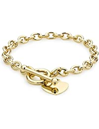 Carissima Gold Women's 9 ct Yellow Gold Heart Tag T-Bar Belcher Bracelet of Length 19 cm