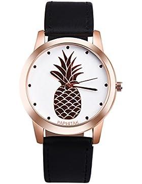 Souarts Damen Armbanduhr Einfach Stil tropisch Ananas Rose gold Farbe Analoge Quary Uhr mit Batterie Schwarz Band
