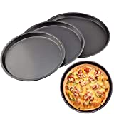 1 Pc Carbon Steel Pizza Pan Non Stick Round Plate Cake Pizza Tray Baking Mould (23)