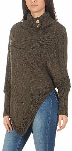 malito Damen Poncho mit Strick Muster | Umhang im eleganten Design | Überwurf �?Weste �?Jacke �?Pullover 3830 Oliv