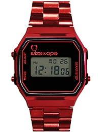 Wize & Ope 1971-3 - Reloj digital de cuarzo unisex, correa de otros materiales color rojo