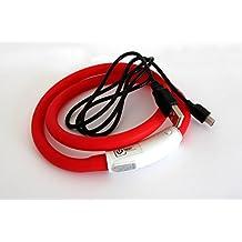 Silicón del collar LED USB collar de perro luminoso para Perro Recargable vía USB (tamaño S-L 18-65 cm se puede acortar) en rojo por el PRECORN marca