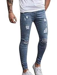 Hombre Ligero Slim Fit Pantalones Vaqueros Rotos Skinny Biker Jeans