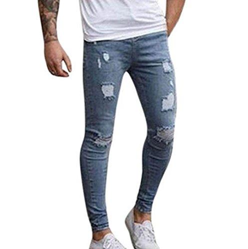 LILICAT Pantalones Vaqueros Rotos Hombre, Jeans Pantalones Vaqueros Elásticos Skinny Slim Fit Delgados, Pantalones Largos de Mezclilla de Cintura Baja de Pitillo (M, Azul Claro)