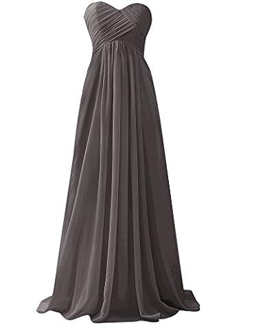 HUINI Frauen ?rmellosen Chiffon Lange Brautjunfer Abschlussball Kleid Schatz Hochzeit Kleider Size 48