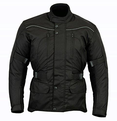 Chaqueta impermeable de motociclismo para hombre - Con protectores - Negro -...