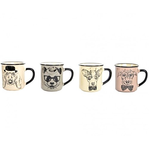 dcasa - Tazas vintage perros ceramica 420 cc / Set de 4 tazas