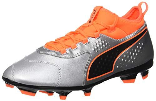 Puma one 3 lth fg, scarpe da calcio uomo, argento silver-shocking orange black 01, 43 eu