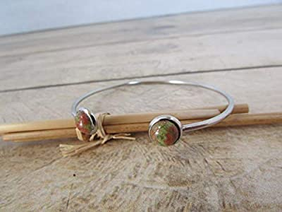 Bracelet jonc double cabochon pierre de gemmes unakite - acier inoxydable, cadeaux pour elle, Cadeaux anniversaires, cadeaux Noël, cadeaux maman, st Valentin, mariage, cadeaux maitresses