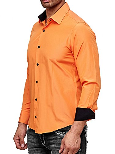 Rusty Neal Herren-Hemd - Slim Fit - Bügelfrei/Bügelleicht - für Business Freizeit Hochzeit Orange