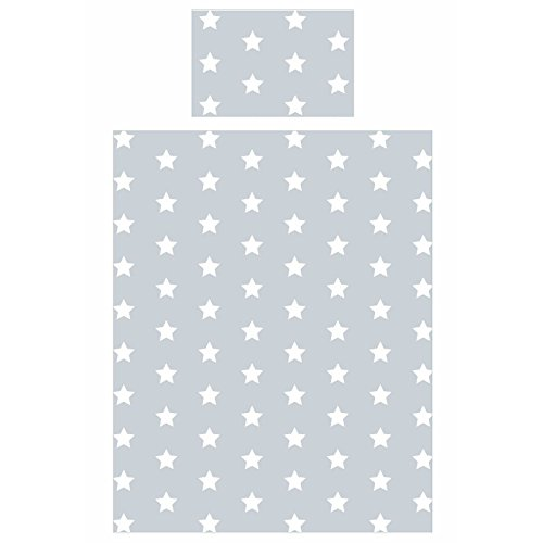 Grey and White Stars Junior Duvet Cover and Pillowcase Set Toddler Bedding New