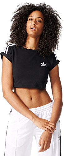 Adidas Cropped Top maglietta, Donna, Donna, Cropped Top, nero, 38