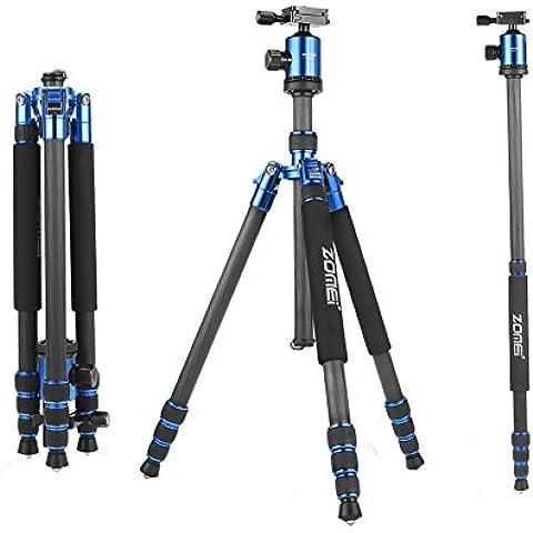ZOMEI Z818C Compactos de Carbono Trípodes de Fibra con Placa de Liberación Rápida Incluye Cabeza de Bola para Panasonic Canon Nikon Sony GoPro Fujifilm Kodak Cámara DSLR 165cm 1.5KG (azul)