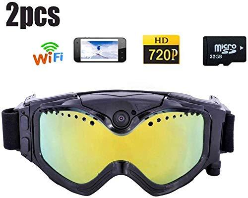 2pcs Lunettes De Ski Caméra WiFi Caméra De Sport HD Ski-Sunglass HD Coloré Double Lentille Anti-Brouillard