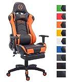 CLP Bürostuhl Turbo mit Kunstlederbezug und Hochwertiger Polsterung | Drehstuhl mit ausziehbarer Fußablage | Gamingstuhl mit Laufrollen und Einer maximalen Belastbarkeit von 150 kg Schwarz/Orange