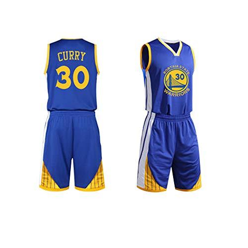 # 30 Stephen Curry Basketball Trikot XS-XXL - 90's Clothing Kostüm Sportbekleidung Herrenbekleidung, Kurzarm offiziell Lizenziertes Team, Basketball-Top für Herren und Jungen-Blue-XXL (Bälle Raum Kostüme)