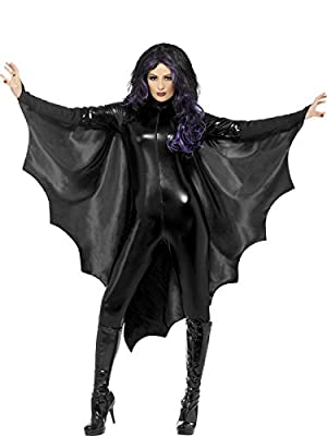 Smiffy's Vampire Bat Wings with High Collar - Black