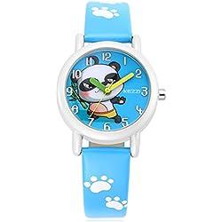 Cute Cartoon Panda Leather Strap Quartz Children Girl Wrist Watch,Blue