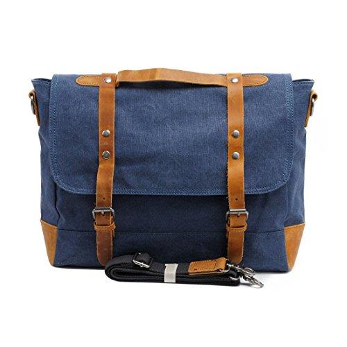 VRIKOO Casual Retro Canvas Satchel Messenger Bag Work Shoulder Bag for Men Women (Dark Grey) Blu