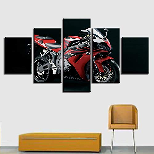 mmwin Arbeit Wohnkultur Für Wohnzimmer Kunst Poster 5 Panel Motorrad Rennwagen Gedruckt Auf Leinwand Wand Modulare Bild -