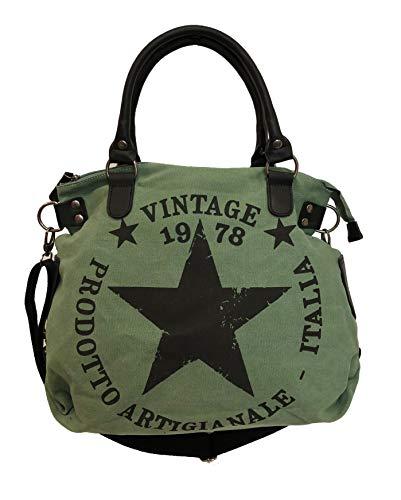 Star Bag Vintage Stern Damen Stamp Tasche Fashion Shopper Henkeltasche Canvas Stoff (Grün)