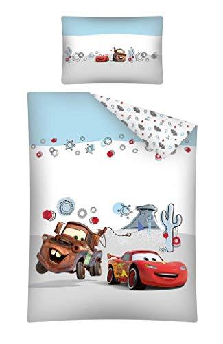 Baby Bettwäsche Set 2tlg. 100% Baumwolle Größe: 100x135 cm, 40x60 cm, ÖkoTex Standard 100 (Cars Hellblau/Grau) (Cars Baby Bettwäsche)