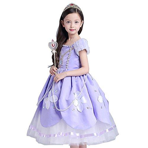 D'amelie Sofia Prinzessin Kostüm Kinder Glanz Kleid Mädchen Weihnachten Verkleidung Karneval Party Halloween (Lego Kostüm Familie)