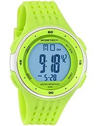 Reloj deportivo deportivo digital para hombre y niño, color lima y plateado, resistente al