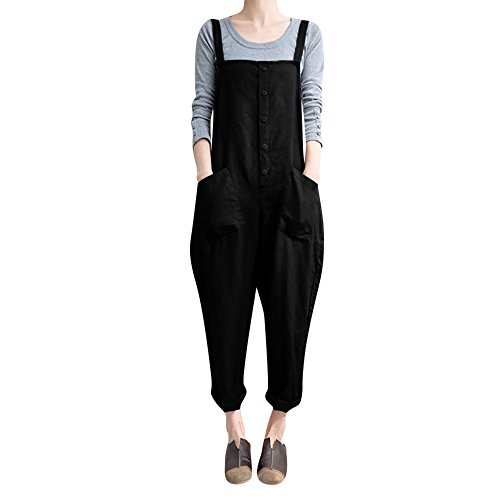 Leey Salopette da donna Pantaloni Tuta da donna senza maniche Tuta da lavoro Pantaloni lunghi Harem Pantaloni Salopette corta (XL, Caffè)