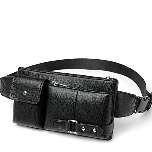 DFVmobile - Bag Fanny Pack Leather Waist Shoulder Bag kompatibel mit Ebook Tablet MI PAD iPAD Mini Galaxy TAB A 8.0 MEDIAPAD M6 Lenovo TAB V7 Digma Linx Argo 3G (2019) - Black