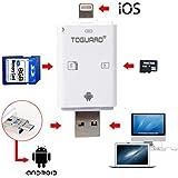 Toguard Visor de Cámaras de Vida Silvestre OTG Lightning Lector de tarjetas SD U Disco lector de tarjetas de alta velocidad 3 en 1 Expansión de memoria de almacenamiento externo para iPhone iPad Mac Android PC