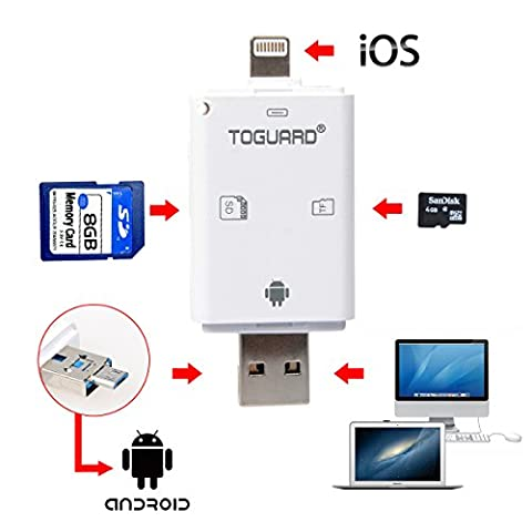TOGUARD Wildlife Camera Viewer OTG Lightning SD Card Reader U Disk High Speed Card Reader 3-in-1 External Storage Memory Expansion for iPhone iPad Mac Android PC