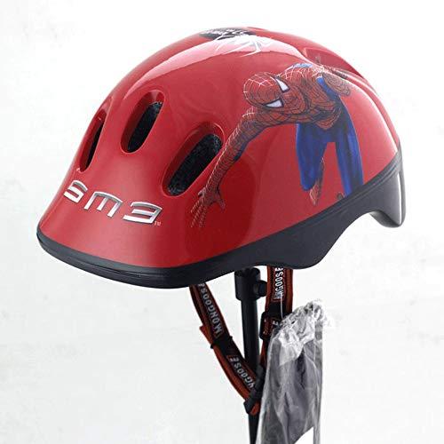 Cobnhdu Kinder Helm Kinder Cartoon Helm Druck Spiderman Hut Helm Kinder Schlittschuhe Rollschuhe Fahrradhelm Kinderwagen Sport Helm (Color : Red, Größe : M)