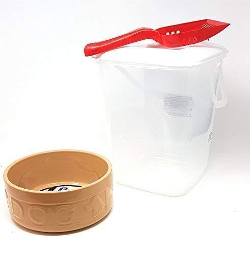 Large Crème Pot en Grès Chien Eau Bol à Nourriture Rangement Nourriture Tube & Cuillère