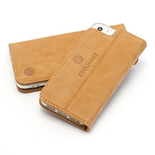 EDELHAUT Handytasche V2.0 mit unsichtbarem Magnetverschluss in braun für Apple iPhone 5 5S und SE aus echtem Leder