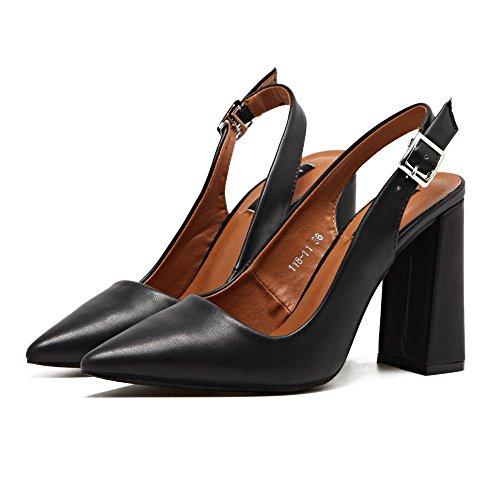 LvYuan-mxx Sandales pour femmes / été et printemps / rétro PU / Chunky Talon / pointe pointu bouche superficielle / Bureau & Carrière / Vêtements / Casual / chaussures à talons hauts BLACK-38