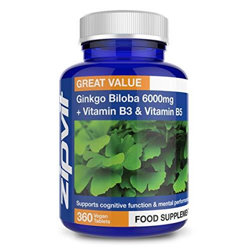 Ginkgo Biloba 6000mg con Vitamina B3 e B5, 360 Compresse. Realizzate secondo GMP nel Regno Unito. Vegan. Fornitura di 12 Mesi.