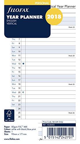 Filofax 000018-68402 Personal Jahresplaner vertikal englisch 2018, Kalender und Organizer