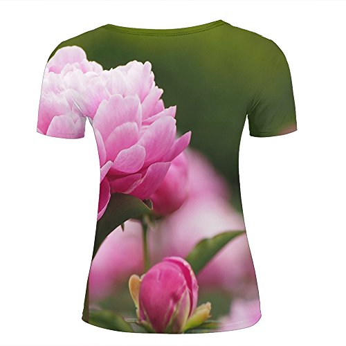 ouzhouxijia Mens 3D Printed T-Shirts Trendy Chic Vintage Peony Flowers Graphics Couple Tees C