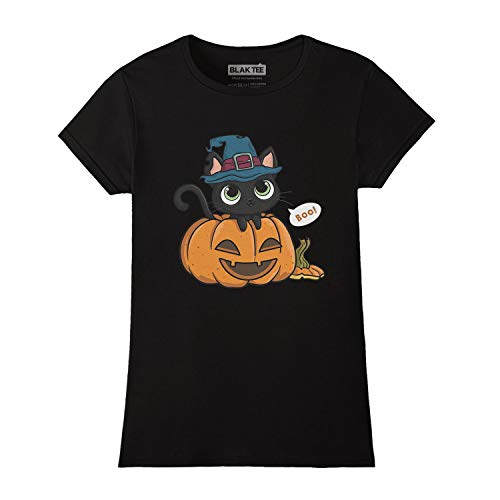 (Cute Black Halloween Cat In A Pumpkin with A Witch Hat Damen T-Shirt S)