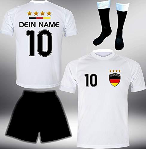 ElevenSports Deutschland Trikot Set 2018 mit Hose & Stutzen GRATIS Wunschname + Nummer im EM WM Weiss Typ #DE1ths - Geschenke für Kinder Erw. Jungen Baby Fußball T-Shirt Bedrucken