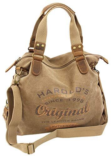 HAROLD'S Damen Handtasche im Vintage-Look aus Canvas mit hochwertigem Echt-Lederbesatz und Retro Print (4536) -
