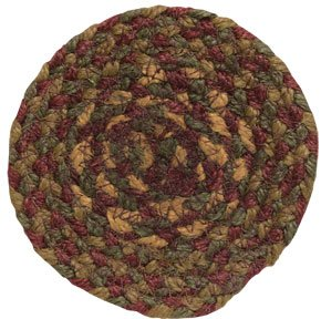 Cinnamon Braided Jute Coaster Country Red Tan Brown Olive Green Primitive Home Décor by BCD (Olive Cor)