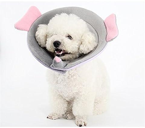GXY - Anneau Anti-morsure Collier super doux et mignon pour animal domestique / Collier de protection Plaie Guérison Medical / Collier anneau Elizabeth masques pour chiens et chats (S, éléphants)