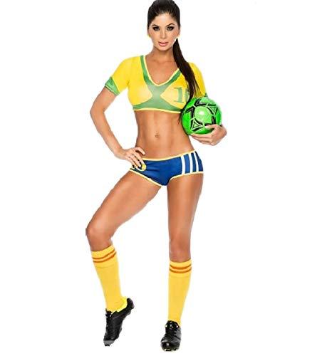 GGT Boutique Weltweite Länder Erwachsenen-Fußball-Kostüm Cheerleader-Kostüm, Damen, TLQZ6230, brasilien, One Size 6-8