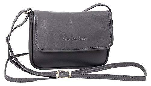 Leder Mini Handtasche (Jennifer Jones Taschen Damen 100% Leder Damentasche Handtasche Schultertasche Umhängetasche Tasche klein Crossbody Bag grau / schwarz / taupe (6125) (Grau))