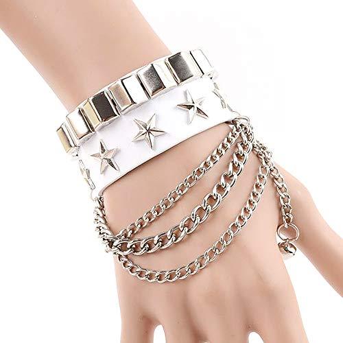 Huture Punk Leder Armband Manschette Bracelet mit Alloy Quaste Bangle Wristband Nieten Stil Leder Armreif Verstellbaren Armreifen für Männer und Frauen, Weiß