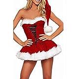 FEESHOW Vestido de las mujeres del traje de la Navidad+sombrero+G-string Cosplay equipo del partido