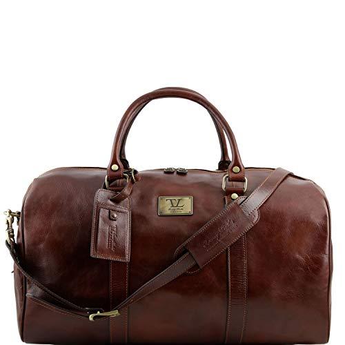 Tuscany Leather TL Voyager Sac de voyage en cuir avec poche à l'arrière - Grand modèle Marron